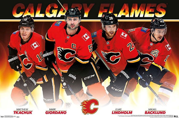 "Calgary Flames ""Power Four"" Poster (Tkachuk, Giordano, Lindholm, Backlund) - Costacos 2020"