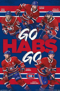 "Montreal Canadiens ""GO HABS GO"" NHL Poster (Domi, Tatar, Danault, Poehling, Weber) - Trends 2019"