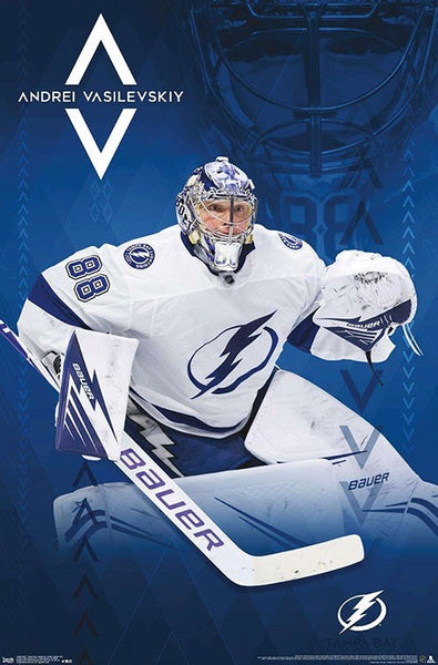 "Andrei Vasilevskiy ""Stopper"" Tampa Bay Lightning Official NHL Goalie Action Poster - Trends 2019"