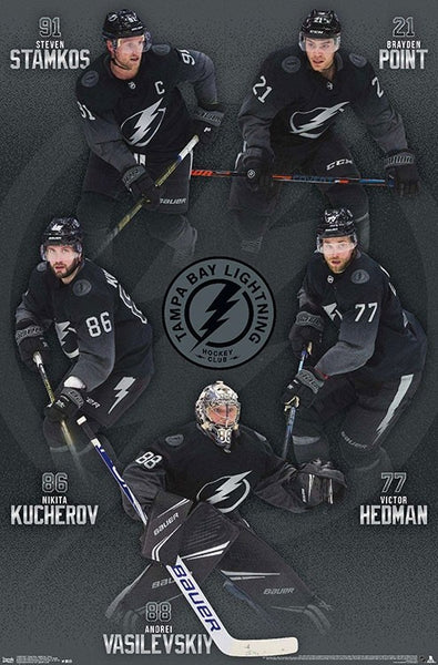 "Tampa Bay Lightning ""Five Stars"" (Point, Hedman, Vasilevskiy, Kucherov, Stamkos) Poster - Trends 2019"