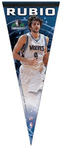 "Ricky Rubio ""T-Wolves Action"" Premium Felt Collector's Pennant - Wincraft"