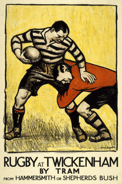 Rugby at Twickenham Classic 1921 London Tube Poster Reprint - London Transport Museum