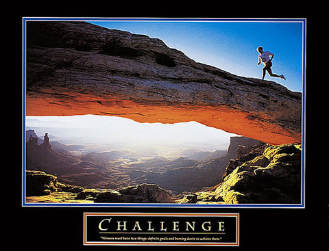 "Running ""Challenge"" (Man in Desert) Motivational Poster Print - Front Line"