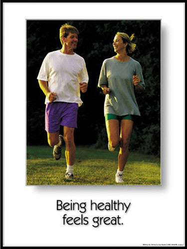 "Jogging Couple ""Being Healthy Feels Great"" Motivational Poster - Fitnus"