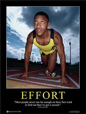 "Running ""Effort"" (Sprinter at Start) Inspirational Motivational Poster - Jaguar Inc."