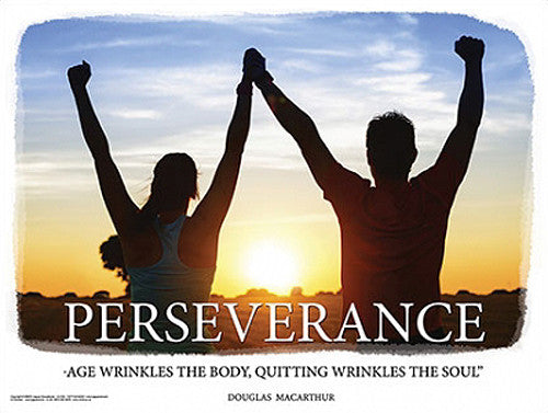 "Running Couple at Sunset ""Perseverance"" Motivational Inspirational Poster - Jaguar Inc."
