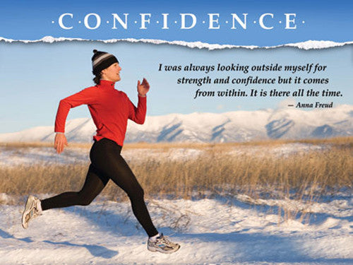 "Running ""Confidence"" (Woman in Winter) Motivational Inspirational Poster - Jaguar Inc."