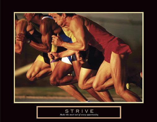 "Sprint Start ""Strive"" Motivational Track-and-Field Poster - Front Line"