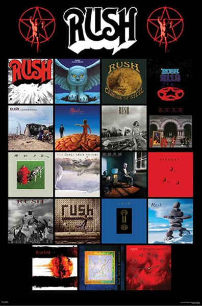 Rush Discography Classic Album Covers Progressive Rock Group Music Poster - Pyramid Posters