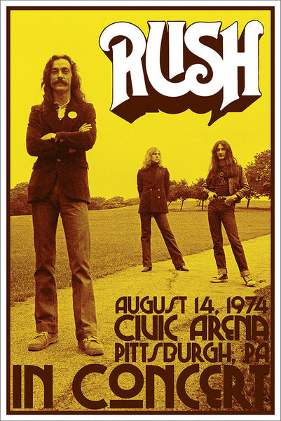 "Rush ""Pittsburgh 1974"" Rock Band Concert Poster - Aquarius Images"
