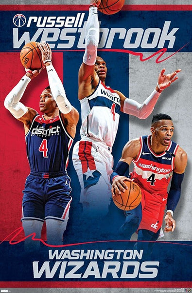 "Russell Westbrook ""Red White and Blue"" Washington Wizards NBA Basketball Poster - Trends International 2021"