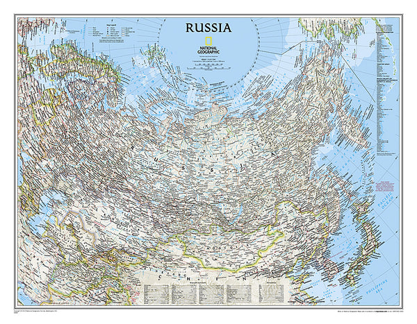 Map of RUSSIA National Geographic Classic Edition 23x30 Wall Map Poster - NG Maps