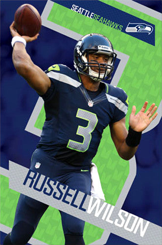 "Russell Wilson ""Superstar"" Seattle Seahawks NFL Football Action Poster - Costacos 2013"