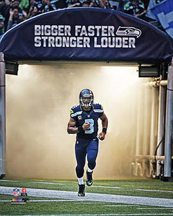 "Russell Wilson ""Bigger Faster Stronger Louder"" Seattle Seahawks Premium Poster - Photofile"