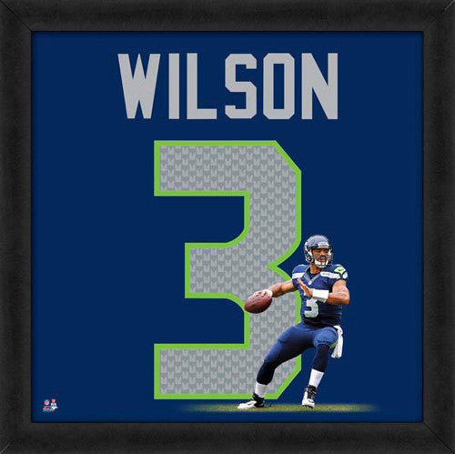 "Russell Wilson ""Number 3"" Seattle Seahawks FRAMED 20x20 UNIFRAME PRINT - Photofile"
