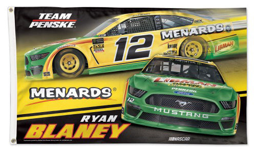 Ryan Blaney Menards/Libman 2019 NASCAR Mustang #12 Official HUGE 3'x5' Deluxe-Edition FLAG - Wincraft