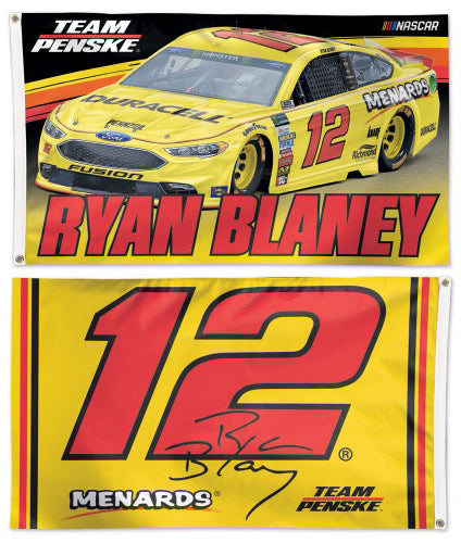 Ryan Blaney NASCAR Menards #12 Official HUGE 3'x5' Deluxe-Edition 2-Sided Banner FLAG - Wincraft 2018