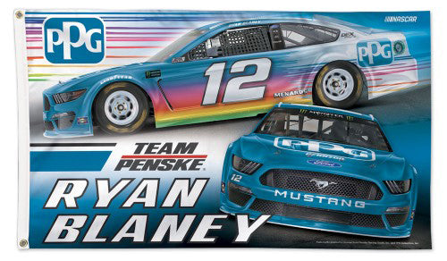 Ryan Blaney NASCAR PPG Paints #12 Official HUGE 3'x5' Deluxe-Edition FLAG - Wincraft