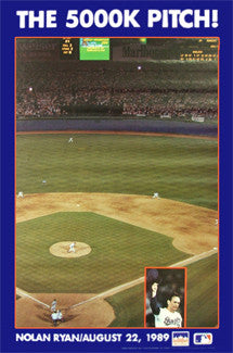 "Nolan Ryan ""The 5000K Pitch"" Texas Rangers MLB Poster - Starline 1989"