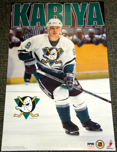 "Paul Kariya ""Superstar"" Anaheim Mighty Ducks NHL Action Poster - Starline 1995"
