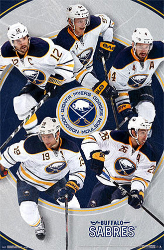 "Buffalo Sabres ""Five Stars"" Poster (Gionta, Myers, Gorges, Moulson, Hodgson) - Costacos 2014-15"
