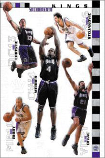 "Sacramento Kings ""Starting 5"" (2001-02) NBA Action Poster - Costacos Sports"
