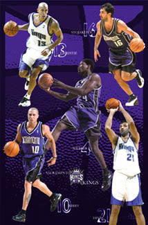 "Sacramento Kings ""Front Line"" (2002-03) Poster - Costacos Sports"