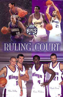 "Sacramento Kings ""Ruling Court"" 2002-03 (Bibby, Peja, Webber, Divac) Poster - Starline Inc."