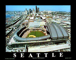 Seattle Mariners Safeco Field Gameday Aerial Views Premium Poster Print