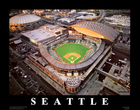 Seattle Mariners Safeco Field Night Game with Kingdome Premium Poster - Aerial Views 1999