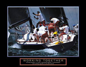 "Sailing ""Working Together"" Motivational Poster - Front Line"