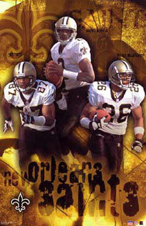 "New Orleans Saints ""Three Stars"" (2002) Poster (McAlliseter, Brooks, Horn) - Starline 2002"