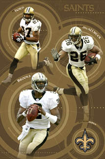 "New Orleans Saints ""Pure Gold"" Poster (Brooks, Horn, McAllister) - Costacos 2004"