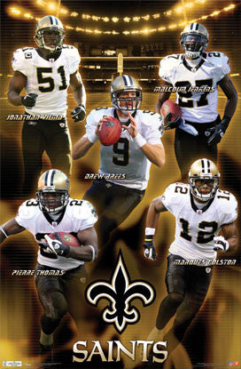 "New Orleans Saints ""Five Alive"" NFL Football Action Poster - Costacos Sports"