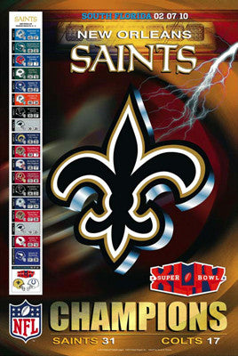 "New Orleans Saints ""Glory XLIV"" Super Bowl Champs Poster - Action Images 2010"