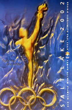 "Salt Lake 2002 Winter Olympic Games ""Light the Fire Within"" Original Official Event Poster - Fine Art Ltd."