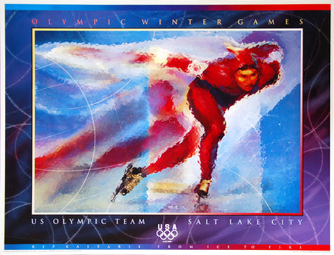 Salt Lake 2002 Winter Olympic Games U.S. Olympic Team Speed Skating Official Event Poster - Fine Art Ltd.