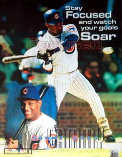 "Sammy Sosa ""Focused"" Chicago Cubs Motivational Poster - Photo File 1999"