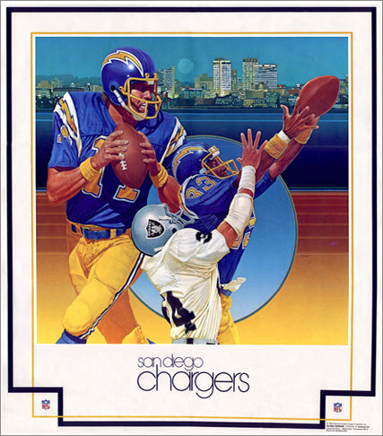 "San Diego Chargers ""Classic Lightning"" NFL Theme Art Poster by Chuck Ren - Damac 1979"