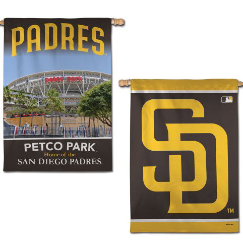 San Diego Padres Official 2-Sided (Logo and Petco Park) Vertical Flag Wall Banner - Wincraft Inc.
