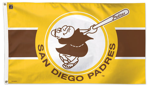 "San Diego Padres ""Slugging Friar"" Style (1969-84) Cooperstown Collection MLB Baseball Deluxe-Edition 3'x5' Flag - Wincraft"