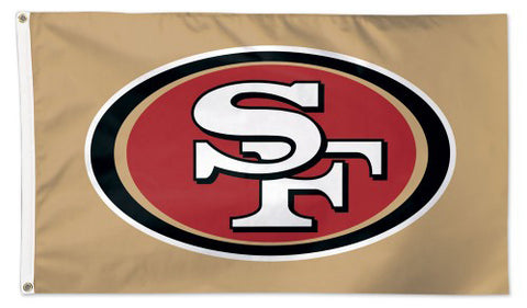 San Francisco 49ers Official NFL Football 3'x5' DELUXE Team Banner Flag (GOLD Background) - Wincraft