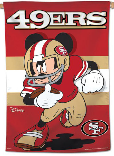 "San Francisco 49ers ""Storming Mickey"" Official NFL Disney Wall BANNER - Wincraft Inc."
