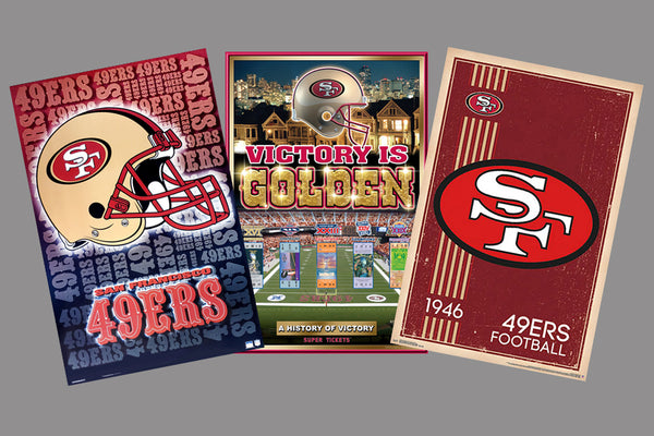 COMBO: San Francisco 49ers Football 3-Poster Theme Art Logo Championship Combo Set