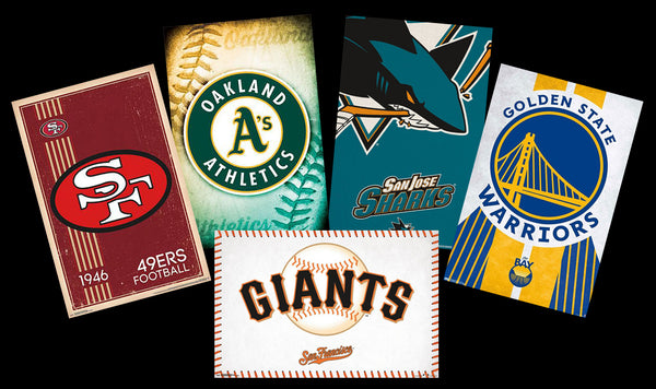 COMBO: San Francisco, CA Bay Area Sports 5-Poster Combo - Warriors, Giants, A's, 49ers, Sharks