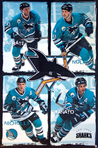 "San Jose Sharks ""Power Four"" Poster (Nolan, Iafrate, Nicholls, Granato) - Costacos Brothers 1996"