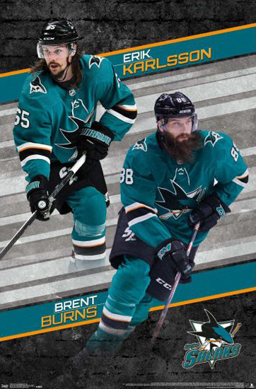 "Erik Karlsson and Brent Burns ""Super-D"" San Jose Sharks NHL Hockey Action Poster - Trends International"