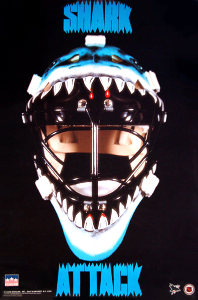 "San Jose Sharks ""Shark Attack"" NHL Hockey Team Logo Poster - Starline 1992"