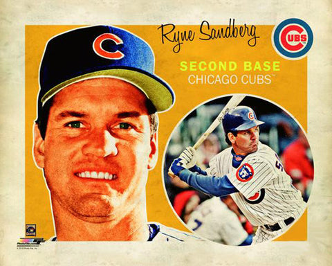 "Ryne Sandberg ""Retro SuperCard"" Chicago Cubs Premium Poster Print - Photofile 16x20"