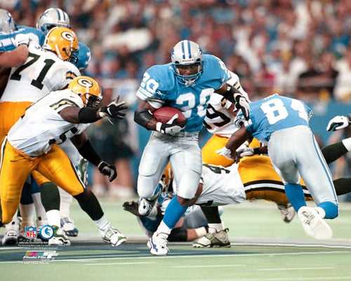 "Barry Sanders ""Bust It Loose"" (c.1997) Detroit Lions Premium Poster Print - Photofile"